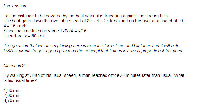 CMAT First Test 2013: Quant Practice Questions - Speed , Time & Distance