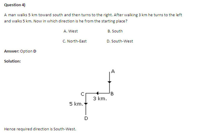 CMAT First Test: Logical Reasoning -Direction Sense Questions