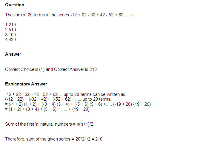 CMAT First Test: Quant questions of Progressions