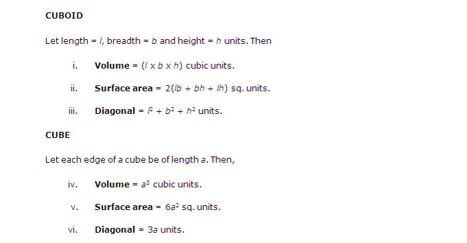 May  MAT 2015: Mathematical Skills - Volume and Surface Area (Important Formulas)