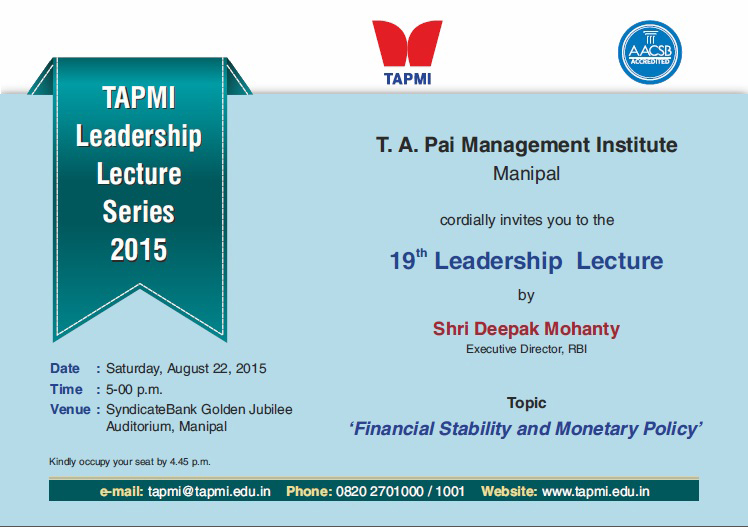 TAPMI - 19th Leadership Lecture Series 2015