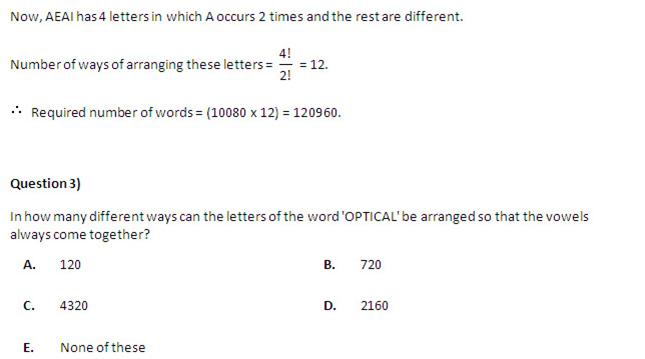 Quantitative Ability  - Questions on Permutation and Combination