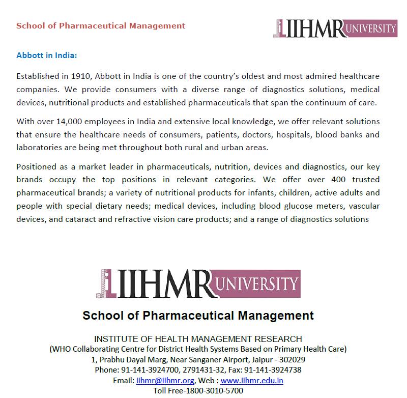 IIHMR University | Acumen - 2016