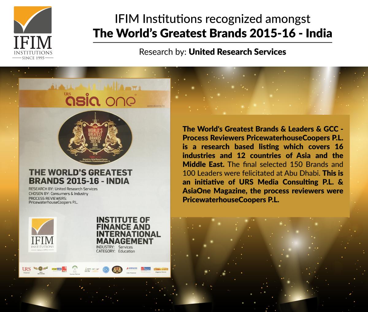 IFIM World's Greatest Brands in India